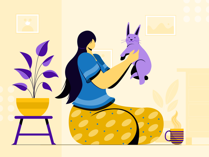 playing with pet colors vector digital concept design character design flat vector illustration