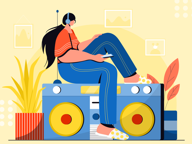 listening music2 plants nature colors vector digital design concept character design flat vector illustration