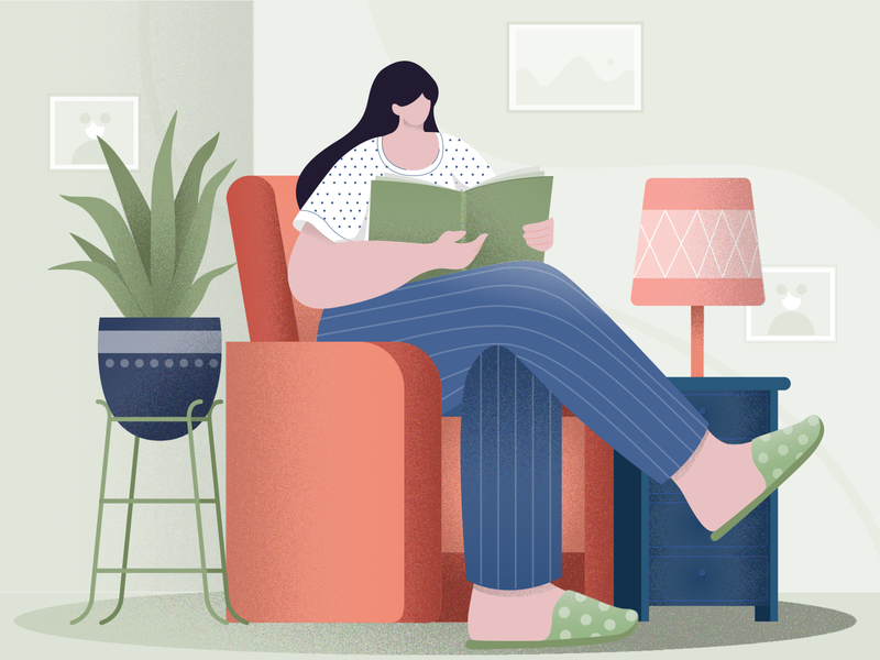 reading digital vector design concept character design girl flat vector illustration