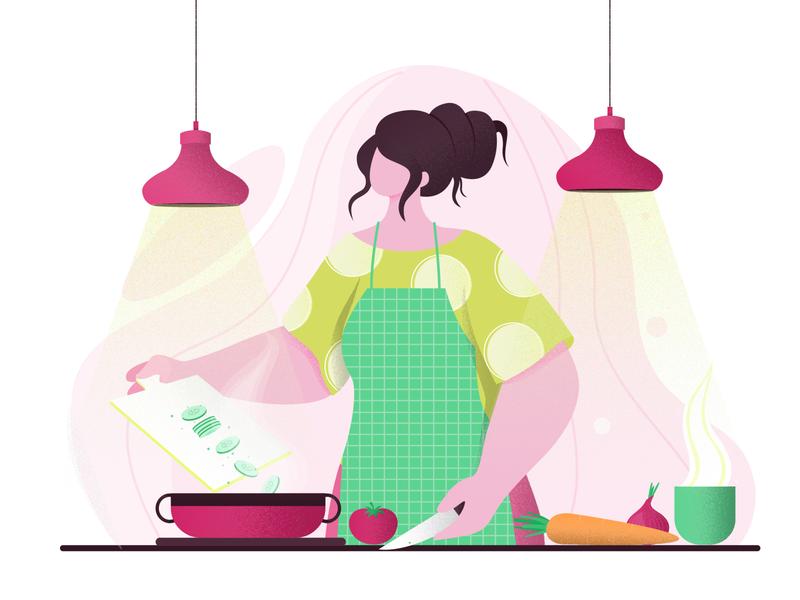 cooking girl digital design vector concept colors character design flat vector illustration