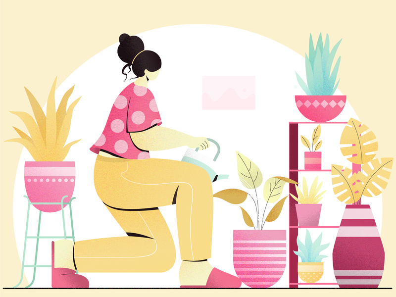 watering plants leaves nature digital vector design concept colors character design flat vector illustration