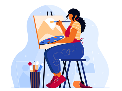 The painter design digital vector character design painter concept flat vector illustration