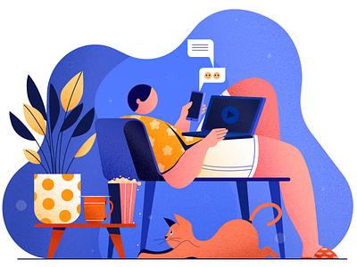 weekend binge-watching binge-watching digital vector design concept character design illustration