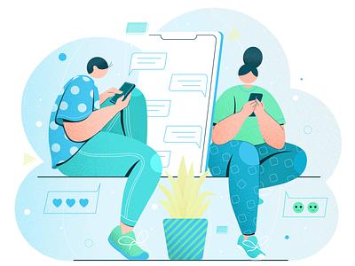 chatting digital vector design concept flat vector illustration