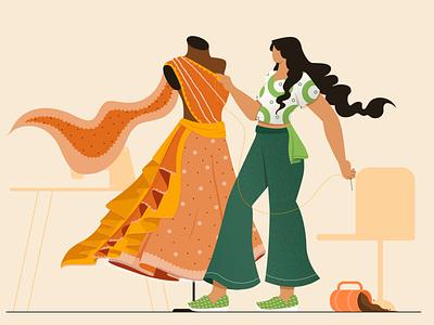 Fashion designer fashion design girl vector digital concept design character design flat vector illustration
