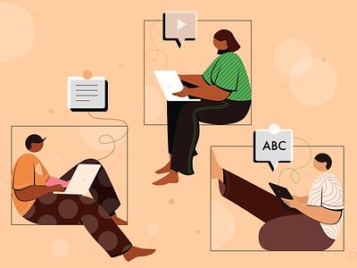 Online study online education digital vector design concept flat vector illustration