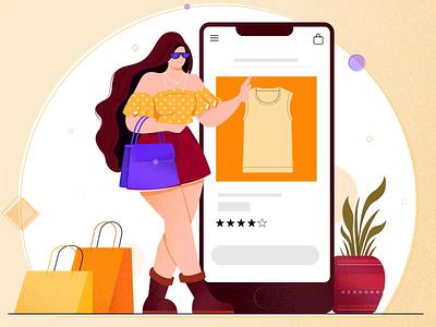 online shopping online shopping digital vector design concept flat vector character design motion design illustration