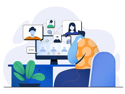 online meeting digital vector design illustration concept character design flat vector