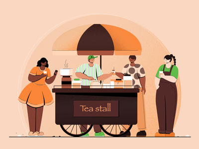 Tea stall tea stall colors concept digital vector design character design flat vector illustration