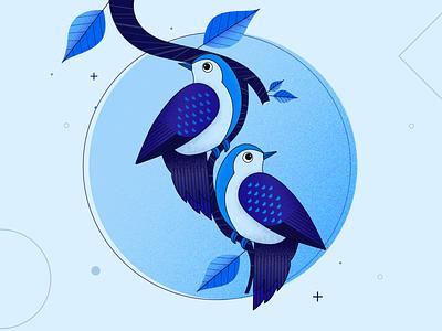 birds leaves concept nature vector digital design flat vector birds illustration