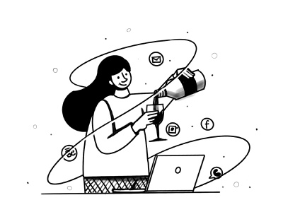 Stuck in devices flat vector digitalarts digital concept line illustrations illustration