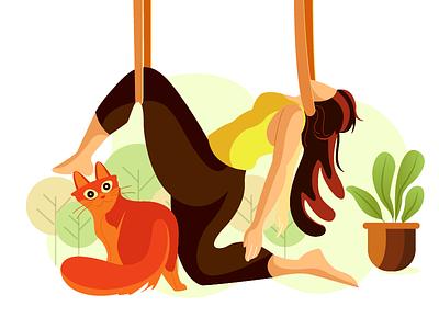 helpless hanging cat flower nature plants girl flat vector illustration