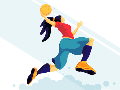 goal jump football girl flat vector illustration