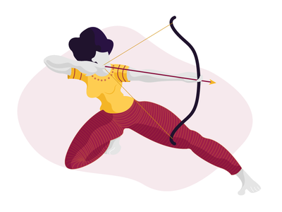 The Archer texture archer girl flat vector illustration