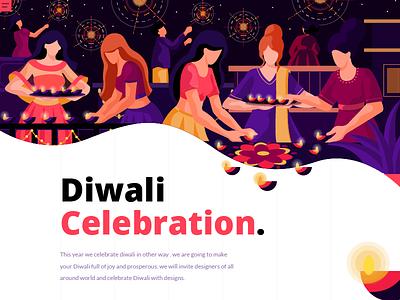 Celebrate Diwali occation flat vector celebration diwali landing page concept illustration