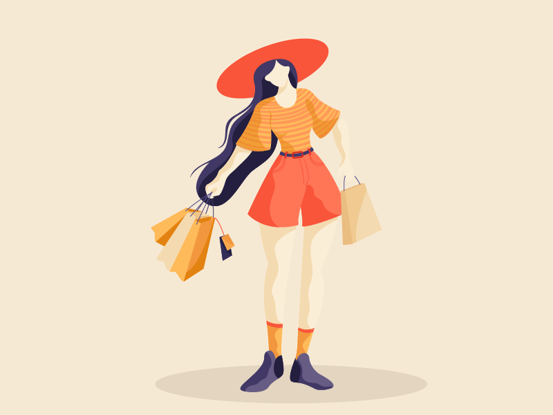 Shopaholic digital shopping flat vector girl illustration