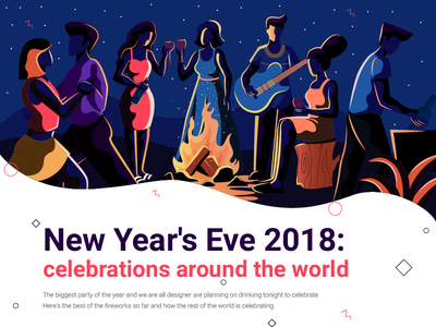 New Year's eve party night character design concept color flat vector celebration illustration