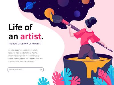 life of an artist landing page leaves artist girl digital colors illustration