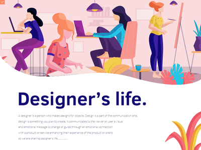 designer's life concept colors plants landing page character design flat vector illustration