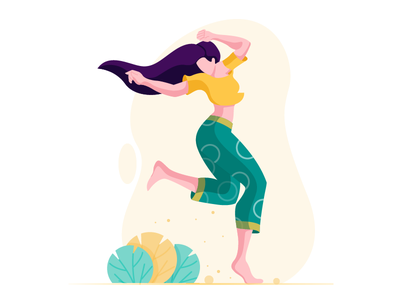 Happy girl colours happiness plants girl flat vector illustration
