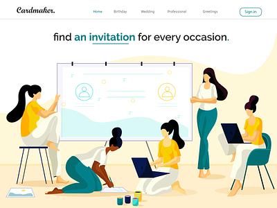 online invitation card colors character design digital art concept art design flat vector landingpage ui  ux illustration