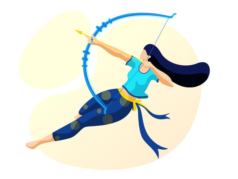The warrior archer design concept vector girl colors character design flat vector illustration