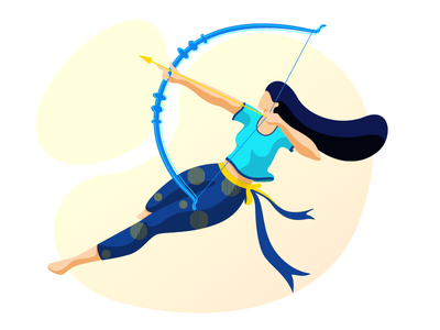 The warrior archer design concept vector girl colors character design flat vector illustration