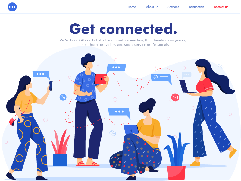 Get Connected character design leaves connection colors landing page flat vector ui illustration