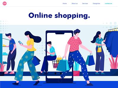 Online Shopping online shop shopping vector ui design plants concept character design flat vector illustration