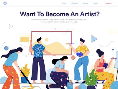 Artists design colors artist vector concept character design flat vector uidesign ui  ux landing page illustration