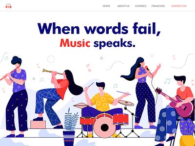 learning music music vector digital landing page uidesign ui design concept character design flat vector illustration