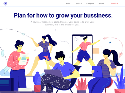 Plan to grow your business vector landing page digital colors design concept character design flat vector illustration