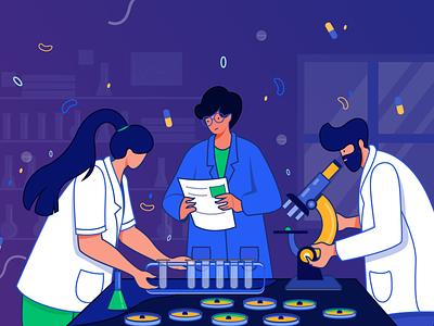 pharmacists pharmacist research digital vector design concept character design flat vector illustration