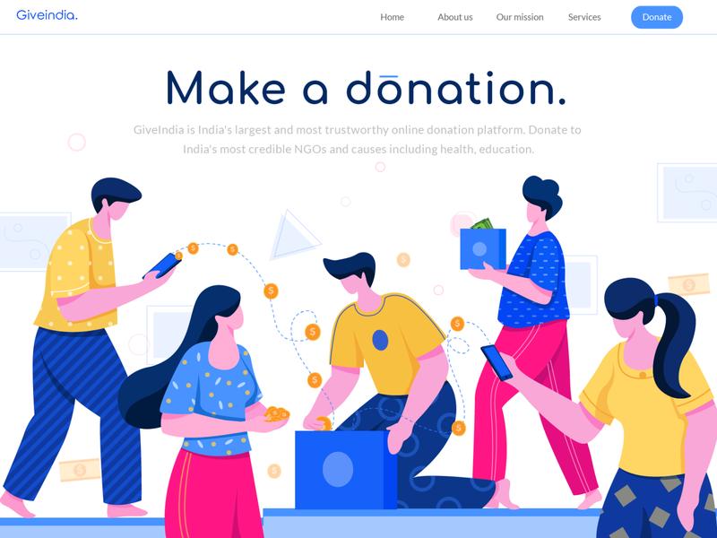 donation donation ui digital vector colors design character design flat vector concept landingpage illustration