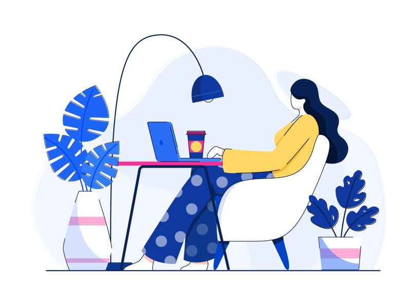working mode digital vector design concept flat vector character design illustration