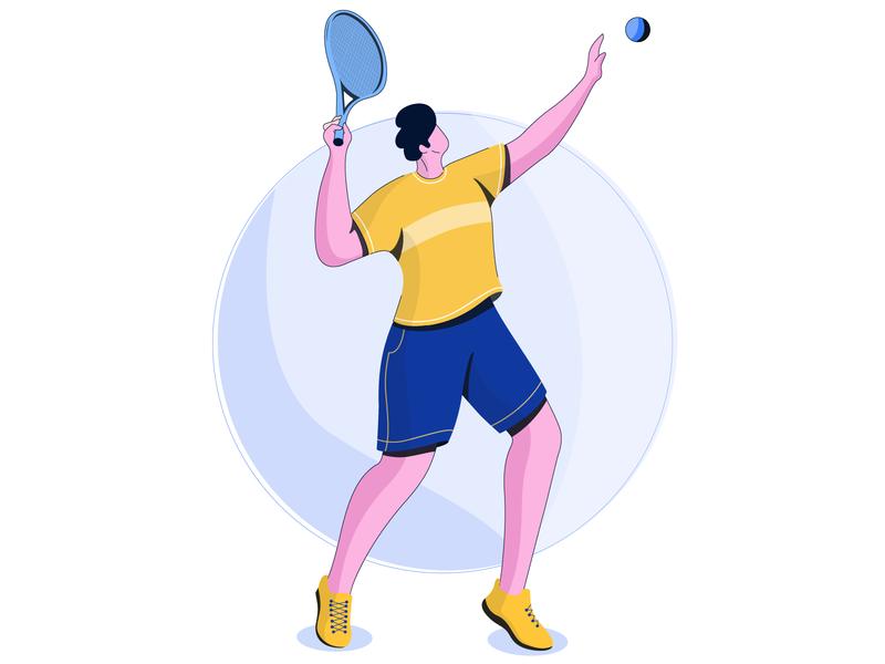 tennis player digital vector design concept character design flat vector illustration
