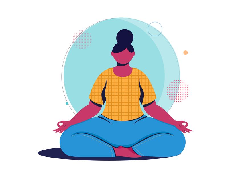 meditation concept design digital vector character design colors girl flat vector illustration