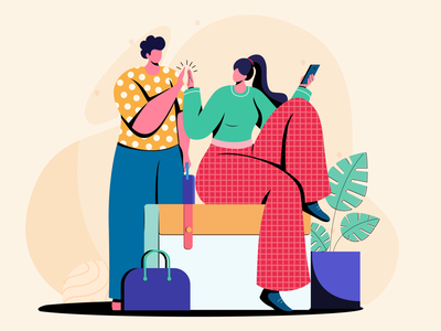 ready to travel digital vector design concept colors character design flat vector illustration
