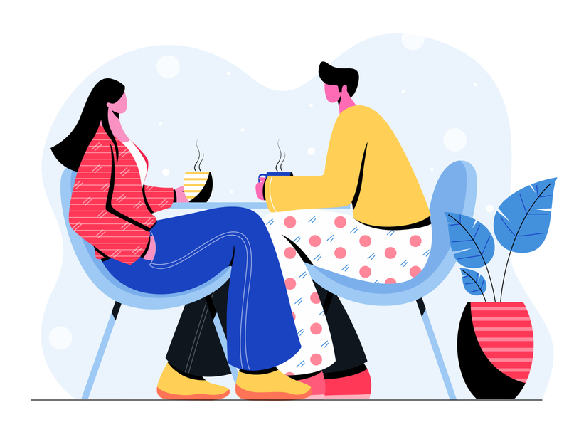 on coffee date design vector digital concept colors character design flat vector illustration