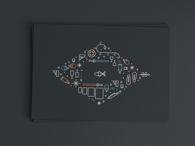 Grouper Holiday Card print illustration icon line lightsaber ping pong snow holiday card christmas