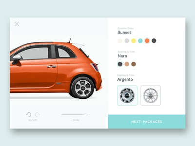 Car Customization Tool checkout modal product zoom rotate color car card ui