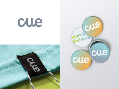Cue Brand Identity style tile education pins banner ad fun mark color gradient icon brand identity branding