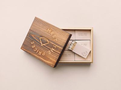 Wedding Identity wood cnc foil gold match book minimal branding identity wedding