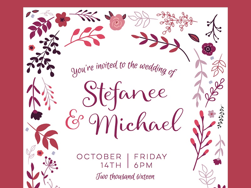 Fall Wedding Invitation script fall border pink purple flowers marriage invitation wedding