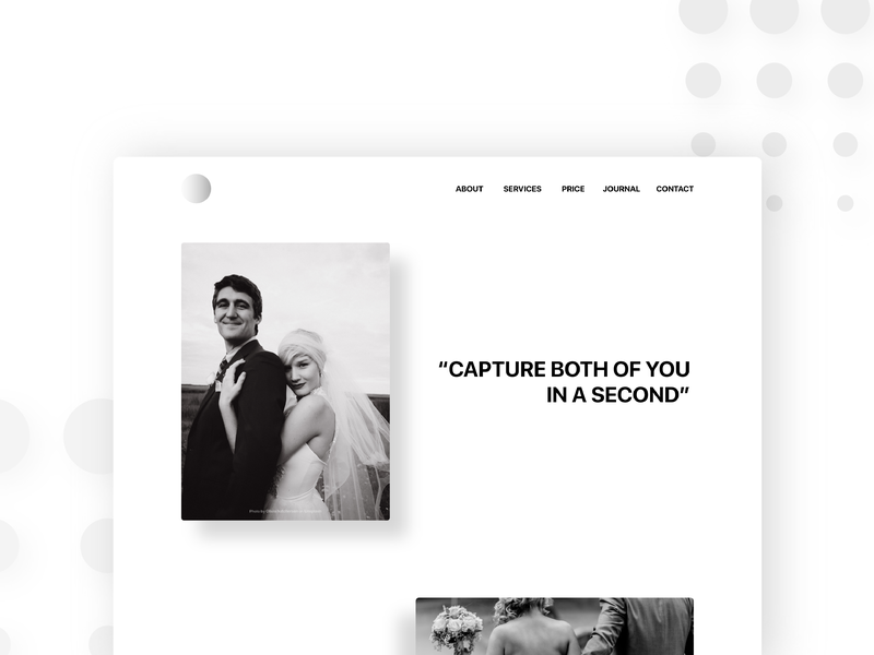 Landing Page Web Wedding Photography black and white web design for photo wedding photography web ui design web design landing page concept landing design landing page