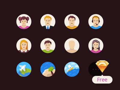Flatflow Icons Free Sketch3 Resource icon avatar user travel plane ship tropics coconut