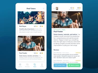 Tutor profiles languages teaching freelance marketplace learning education ux ui course mentor tutor mobile app