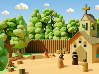 Discovery of America - Children's book #4 lowpoly game art editorial childrens book children kids magazine 3d art 3d blender low poly illustration