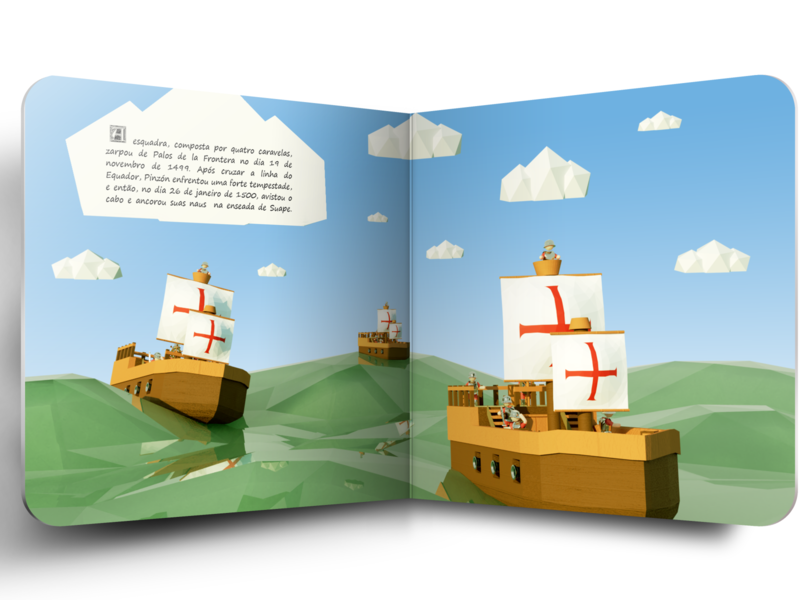 Discovery of America - Children's book #6 magazine game art childrens book history kids children book editorial design 3d art 3d low poly illustration