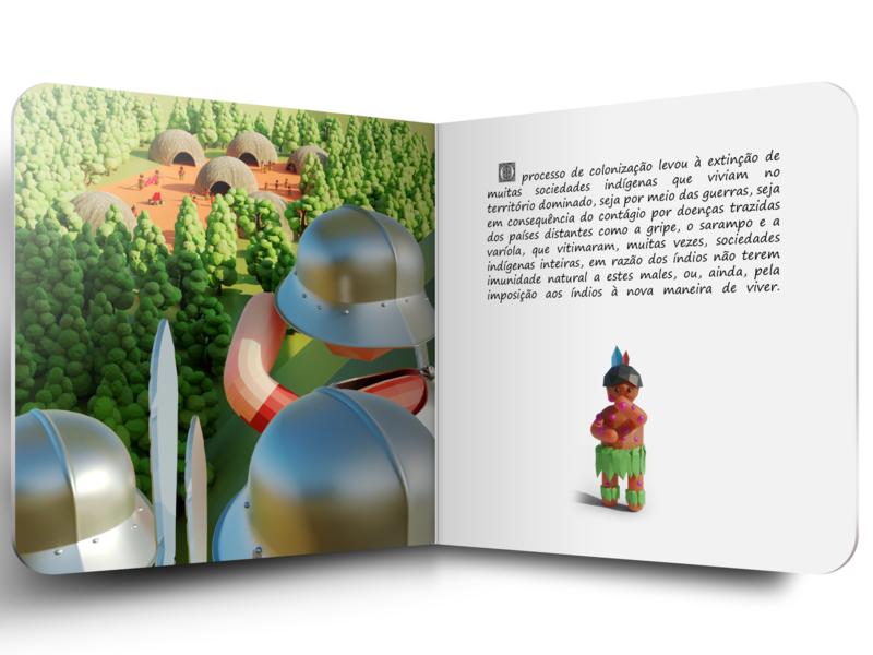 Discovery of America - Children's book #8 graphic kids children editorial design 3d art 3d blender low poly illustration